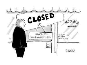 Man stands in front of a bar that is closed, with a sign that reads, 'Move? - Cartoon by Carole Cable