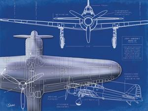 Airplane Blueprint 1 by Carole Stevens