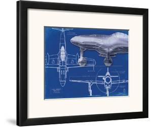 Airplane Blueprint 2 by Carole Stevens