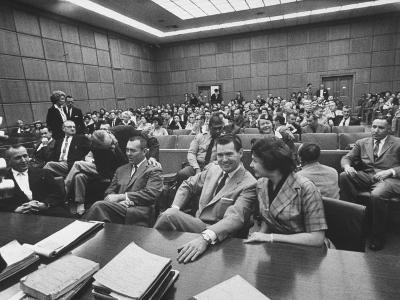 Carole Tregoff and Dr. Bernard Finch During Recess of Murder Trial-Ralph Crane-Photographic Print