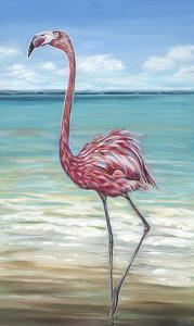 Beach Walker Flamingo II by Carolee Vitaletti