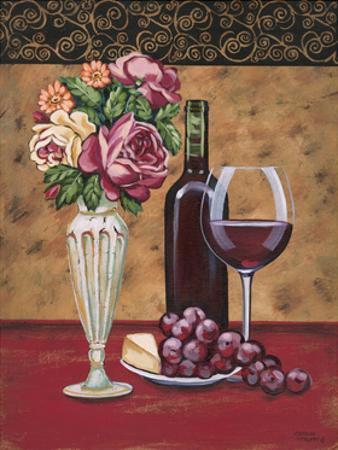 Vintage Flowers and Wine I by Carolee Vitaletti