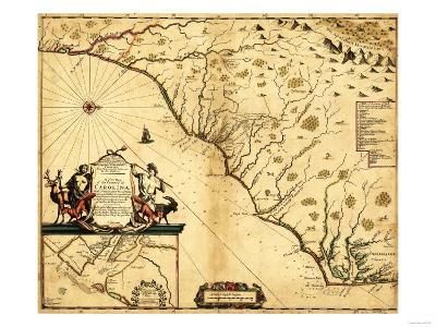 Carolinas with North to the Right - Panoramic Map-Lantern Press-Art Print