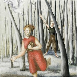 Winter Annunciation with Running Woman in Red, 2006 by Caroline Jennings