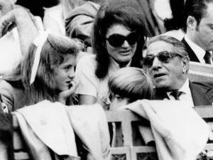 Caroline Kennedy, John F. Kennedy Jr., Jacqueline and Aristotle Onassis Watch World Series, 1969