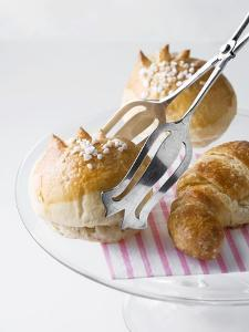 Milk Rolls and Croissant with Cake Tongs by Caroline Martin