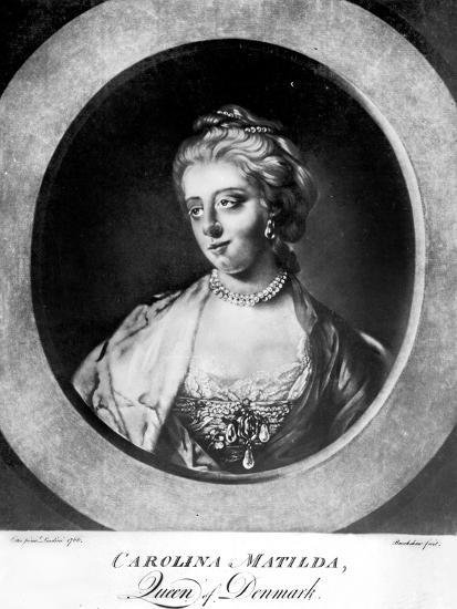 Caroline Matilda, Queen of Denmark and Norway, Engraved by Brookshaw-Francis Cotes-Giclee Print