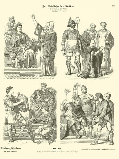 Carolingian Frankish Costumes, 8th Century--Giclee Print