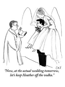 """""""Now, at the actual wedding tomorrow, let's keep Heather off the vodka."""" - New Yorker Cartoon by Carolita Johnson"""