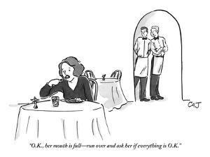 """""""O.K., her mouth is full?run over and ask her if everything is O.K.!"""" - New Yorker Cartoon by Carolita Johnson"""