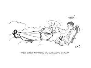 """""""When did you first realize you were really a woman?"""" - New Yorker Cartoon by Carolita Johnson"""