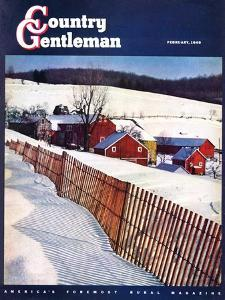 """Snowy Farm Scene,"" Country Gentleman Cover, February 1, 1949 by Caroloa Rust"