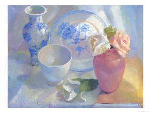 Porcelain Vase & Rose by Carolyn Biggio