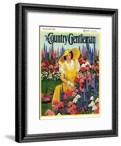 """""""Cutting Flowers from Her Garden,"""" Country Gentleman Cover, August 1, 1933 by Carolyn Haywood"""