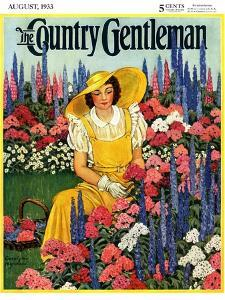 """Cutting Flowers from Her Garden,"" Country Gentleman Cover, August 1, 1933 by Carolyn Haywood"