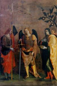 St. Bovo, Archangel Michael, St. Cosmas and St. Damian by Caroto Gian Francesco