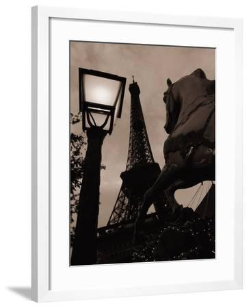 Carousel Horse, Street Light and Eiffel Tower-Jack Hollingsworth-Framed Photographic Print