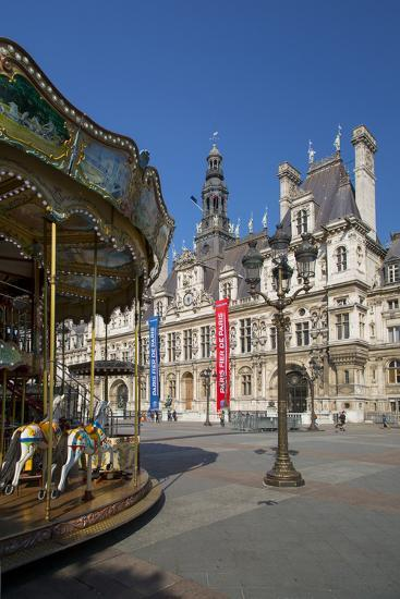 Carousel in the Square Below Hotel de Ville, Paris, France-Brian Jannsen-Photographic Print