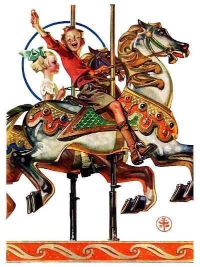 """""""Carousel Ride,""""September 6, 1930-Joseph Christian Leyendecker-Giclee Print"""