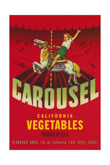 Carousel Vegetable Crate Label--Giclee Print