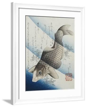 Carp Among Aquatic Leaves-Katsushika Taito II-Framed Giclee Print