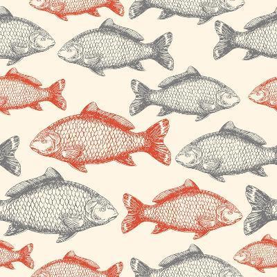 Carp Fish Asian Style Seamless Pattern. Vector Illustration-adehoidar-Art Print