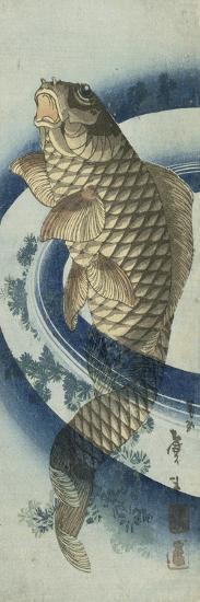 Carpe remontant le courant-Katsushika Taito II-Giclee Print