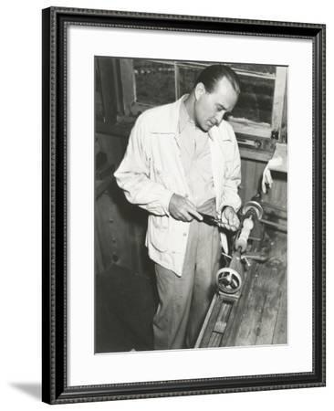 Carpenter at Work in His Woodshop--Framed Photo
