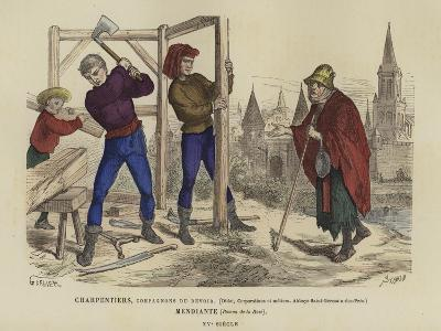 Carpenters and a Beggar, 15th Century--Giclee Print