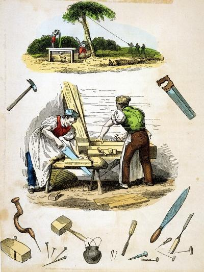 Carpenters at Work, Surrounded by Various Tools, C1845--Giclee Print