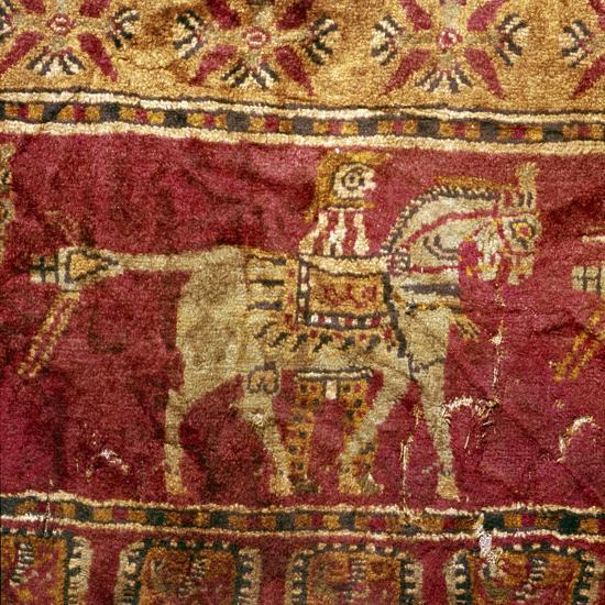 Carpet detail, Man and Horse, from Tomb at Pazyryk, Altai, USSR, 5th century BC-4th century BC-Unknown-Giclee Print