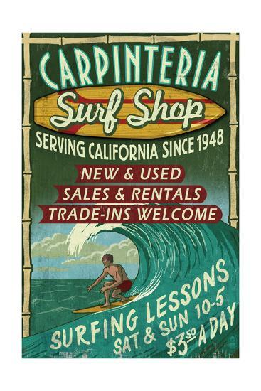 Carpinteria, California - Surf Shop Vintage Sign-Lantern Press-Art Print