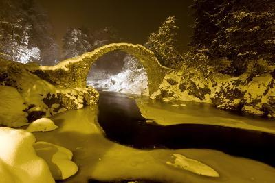 Carr Bridge At Night In Winter-Duncan Shaw-Photographic Print