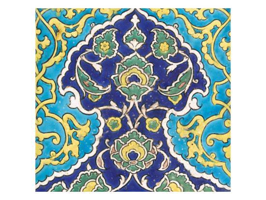Carreau à frise de lambrequins bleu et turquoise imbriqués--Giclee Print