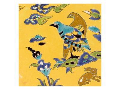 Carreau de revêtement aux deux oiseaux et au lièvre--Giclee Print