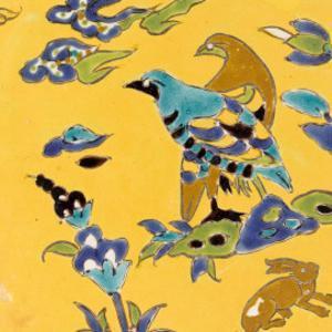 Carreau de revêtement aux deux oiseaux et au lièvre