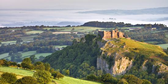 Carreg Cennen Castle at dawn on a misty summer morning, Brecon Beacons National Park, Carmarthenshi-Adam Burton-Photographic Print