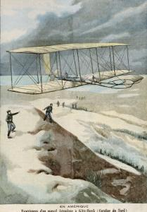 Orville and Wilbur Wright Make the First Successful Powered Flight at Kitty Hawk North Carolina by Carrey