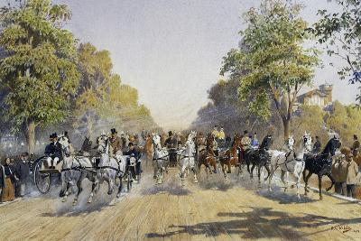Carriage Race in Prater in Vienna, Watercolour, Austria, 19th Century--Giclee Print
