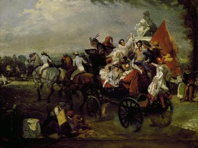 Carriage with Bearing People with Masks in Place De La Concorde in Paris, 1834, Painting by Lamy--Giclee Print