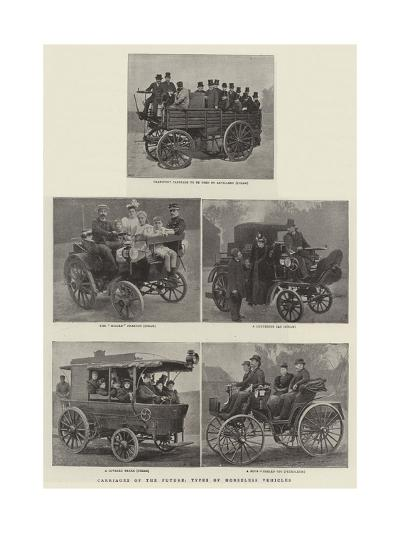 Carriages of the Future, Types of the Horseless Vehicles--Giclee Print