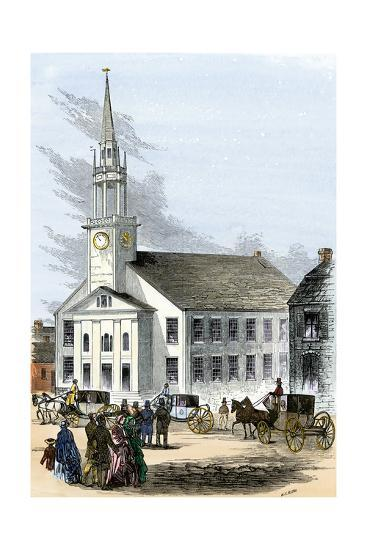 Carriages on the Street by Old South Church in Newburyport, Massachusetts, 1850s--Photographic Print