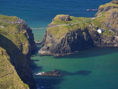 Carrick-A-Rede Rope Bridge to Carrick Island, Larrybane Bay, County Antrim, Ulster-Neale Clarke-Photographic Print