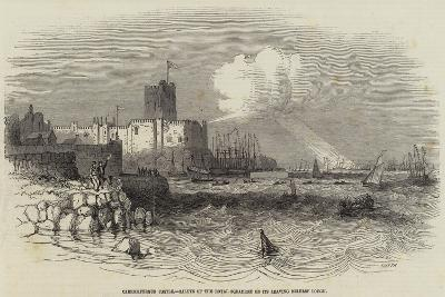 Carrickfergus Castle, Salute of the Royal Squadron on its Leaving Belfast Lough--Giclee Print