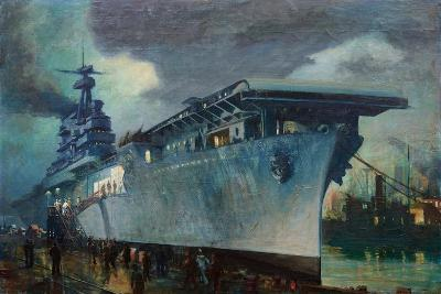 Carrier Enterprise Preparing for Trials in the Early Morning-Thomas C. Skinner-Giclee Print