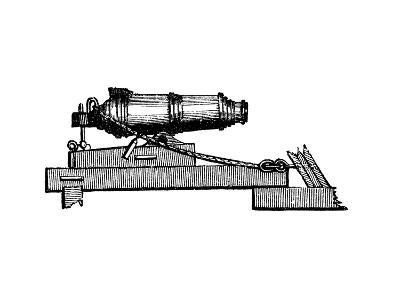 Carronade, Short Piece of Naval Ordnance with Large Calibre Chamber, Like a Mortar, 1850--Giclee Print