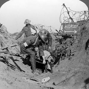 Carrying a Wounded Soldier to a First Aid Post, Passchendaele, Belgium, World War I, 1914-1918