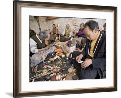 Carrying out Routine Maintenance of Prayer Wheels on a Monastery Roof, Lhasa, Tibet, China-Don Smith-Framed Photographic Print