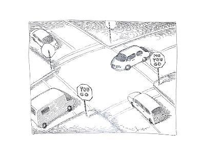Cars at intersection - Cartoon-John O'brien-Premium Giclee Print
