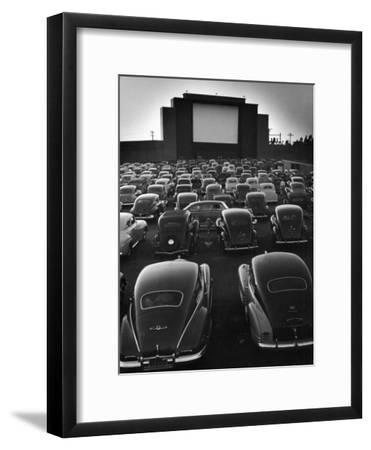 Cars Filling Lot at New Rancho Drive in Theater at Dusk Before the Start of the Feature Movie-Allan Grant-Framed Premium Photographic Print